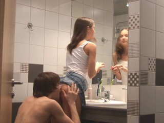 Kinky Ivana Fukalot with upskirt is having fuck in the bathroom